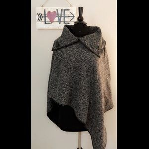 Love Culture Poncho with Faux Leather Trim